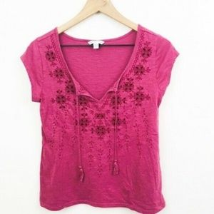 American Eagle Embroidered Top w/Tassels XS
